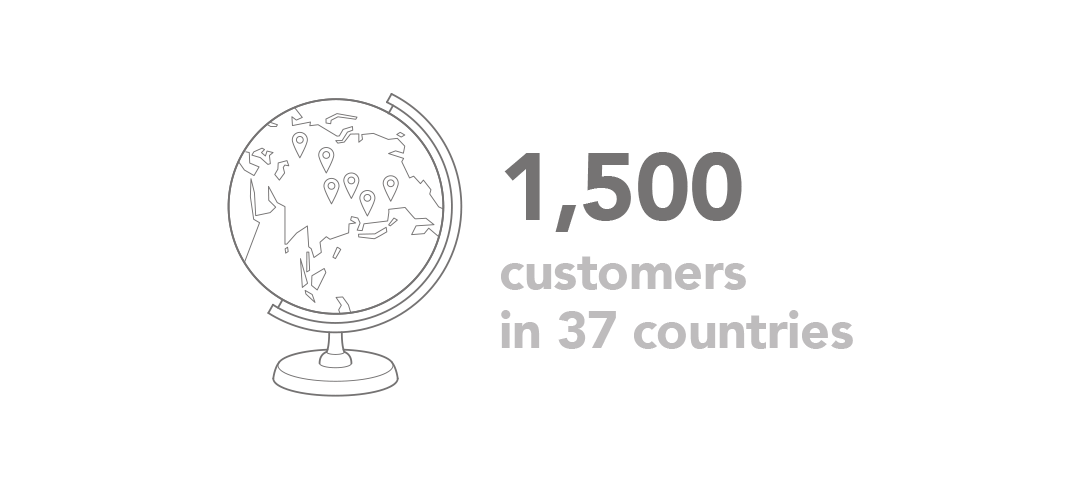 1500 customers in 37 countries